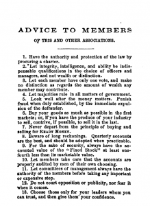 Advice to members of the Union Cooperative Association from their constitution.